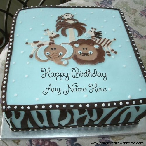 Animal Birthday Cake With Name For Kids