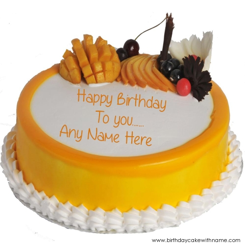 Write Real Name On Fruit Birthday Cake Pics