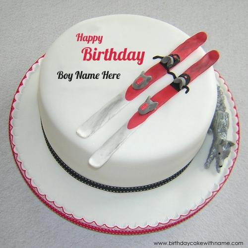 Birthday Ski Cake For Boy Name Edit