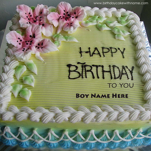 Happy Birthday Boy Wishes Lilly Flower Cake