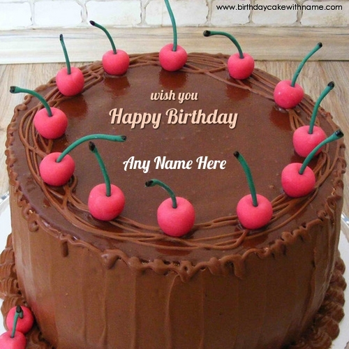 Cherry Chocolate Birthday Cake For Sister With Name