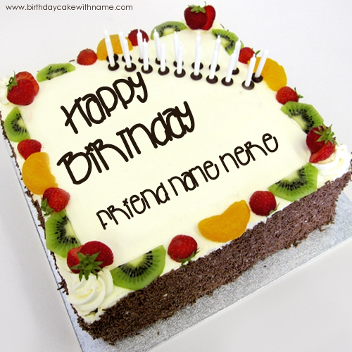 Friend Wishes Name Birhtday Cake Image