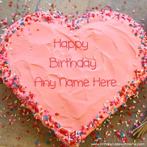 Colorful Love Heart Birthday Cake With Love Name