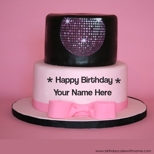 Disco Ball Design Birthday Cake With Name