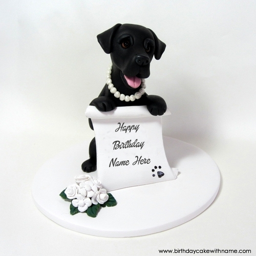 Black Dog Birthday Wishes Cake With My Name