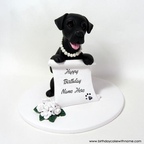 Black Dog Birthday Wishes Cake With My Name