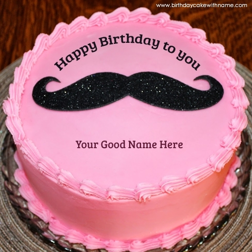 Mustache Design Birthday Cakes With Father Name