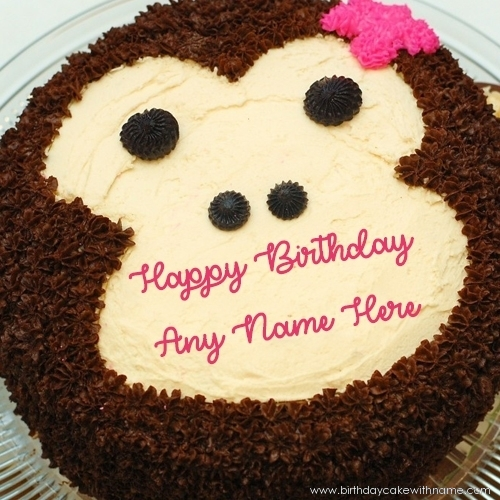 Girl Monkey Birthday Wishes Cake With Name