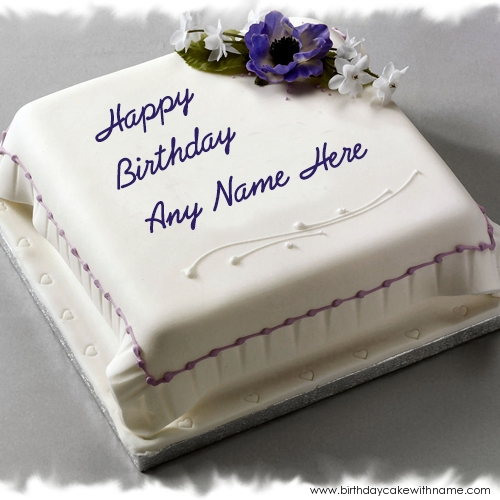 Write Boy Name On Flower Cream White Happy Birthday Cake
