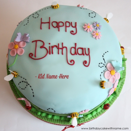 Happy Birthday Natural Flower Cake For Child