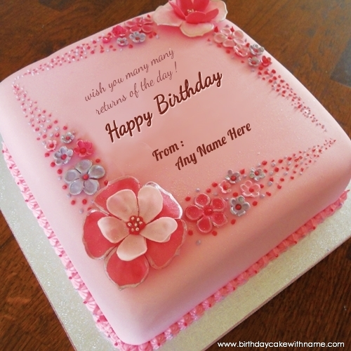Girlfriend Name Birthday Wishes Pink Flower Cake