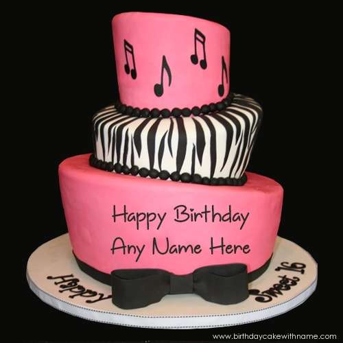 Pink Musical Birthday Cake With Name