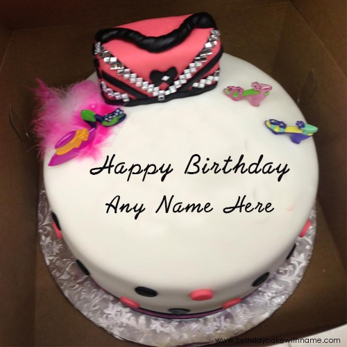 Enjoyable Purse Birthday Cake Design With Girl Name Write Funny Birthday Cards Online Aeocydamsfinfo