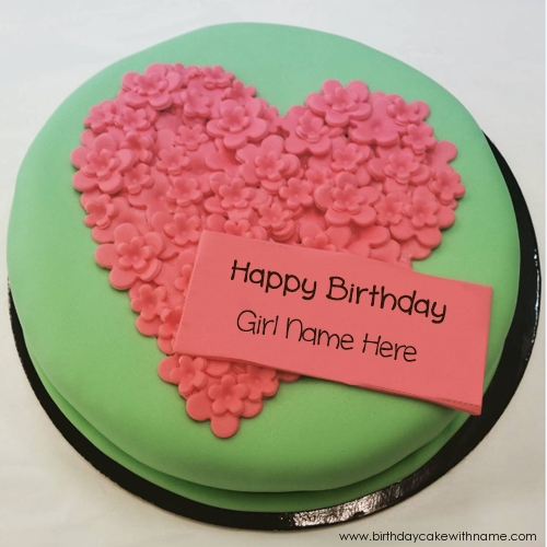 Pink Flower Birthday Cake Pictures Edit With Girl Name