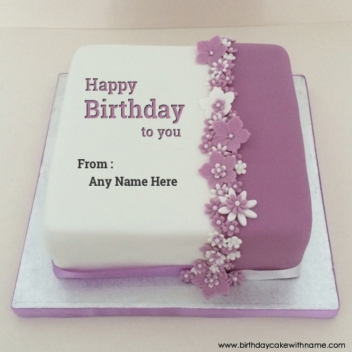 Groovy Brother Name Text In Purple Flower Birthday Cake Photo Funny Birthday Cards Online Alyptdamsfinfo
