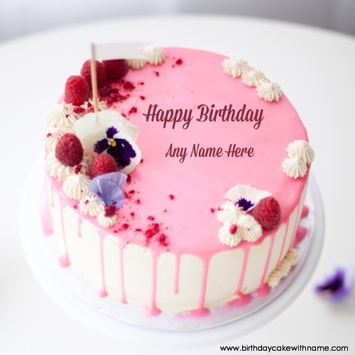 Raspberry Pink Birthday Cake For Lover With Name