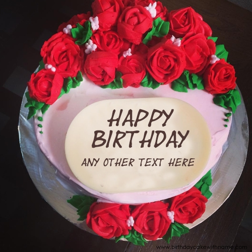 Flower Rose Birthday Cake Edit With Girl Name
