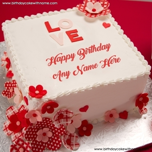 Love Flower Decorated Birthday Cake For Lover Editing