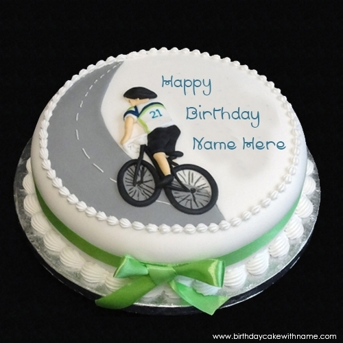Bicycle Birthday Cake For Kids With Name