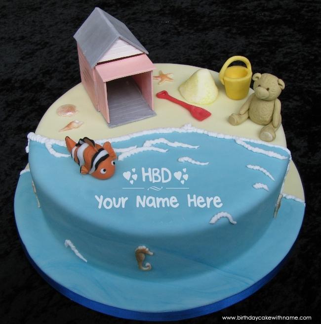 Seaside Themed Birthday Cake